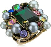 Betsey Johnson Cocktail Rings Mixed Faceted Stone Cluster Statement Ring, Size 7