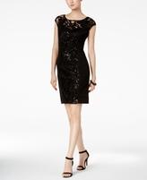 Sangria Petite Sequined Lace Illusion Sheath Dress