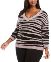 Belldini Plus Size Zebra-Print Eyelash Sweater