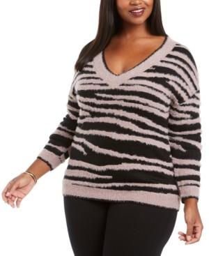 Belldini Plus Size Zebra-Print Eyelash Sweater