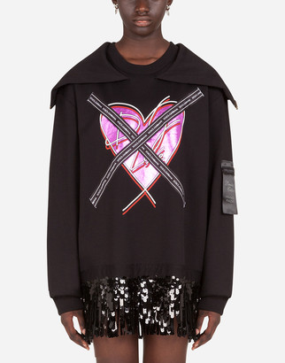 Dolce & Gabbana Jersey Sweatshirt With Heart Print And Ribbon Details