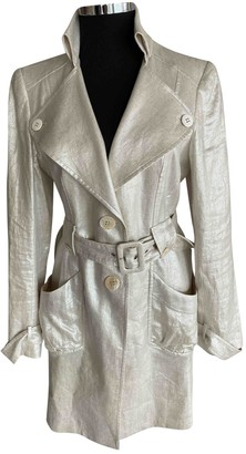 Collette Dinnigan Metallic Linen Trench Coat for Women