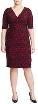 Lauren Ralph Lauren Plus Size Women's Faux Wrap Print Sheath Dress