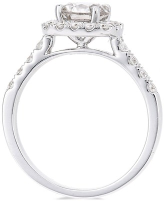 Love Diamond 18ctWhite Gold Claw Set 70 point Diamond Square Set Halo Ring