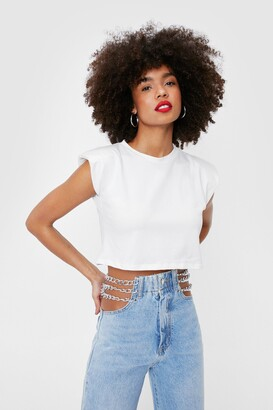 Nasty Gal Womens Shoulder Pad About It Cropped Tank Top - Cream