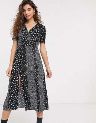 Miss Selfridge tea dress in spliced floral print