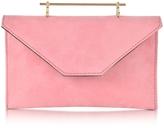 M2Malletier Annabelle Candy Pink Suede Clutch w/Chain