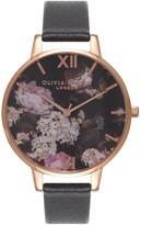 Olivia Burton Signature Florals Leather Strap Watch, 38mm