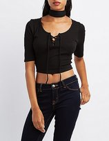 Charlotte Russe Ribbed Lace-Up Crop Top
