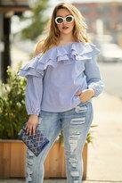 Fashion to Figure Mercer Double Ruffle Striped Shirt