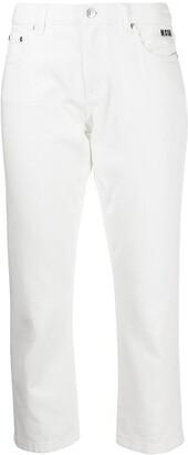 MSGM Cropped Logo-Print Jeans