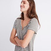 Madewell Choral Split-Neck Tee in Edie Stripe