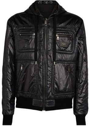 Dolce & Gabbana Hooded Logo Patch Jacket