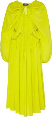 Rochas Draped Silk Crepe Midi Dress