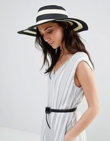Liquorish Stripe Straw Floppy Hat