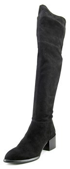 Calvin Klein Jeans Nani Women Round Toe Suede Black Over The Knee Boot.