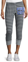 Freecity Strike Sounds Cropped Jogger Pants, Black/Gray Stripe