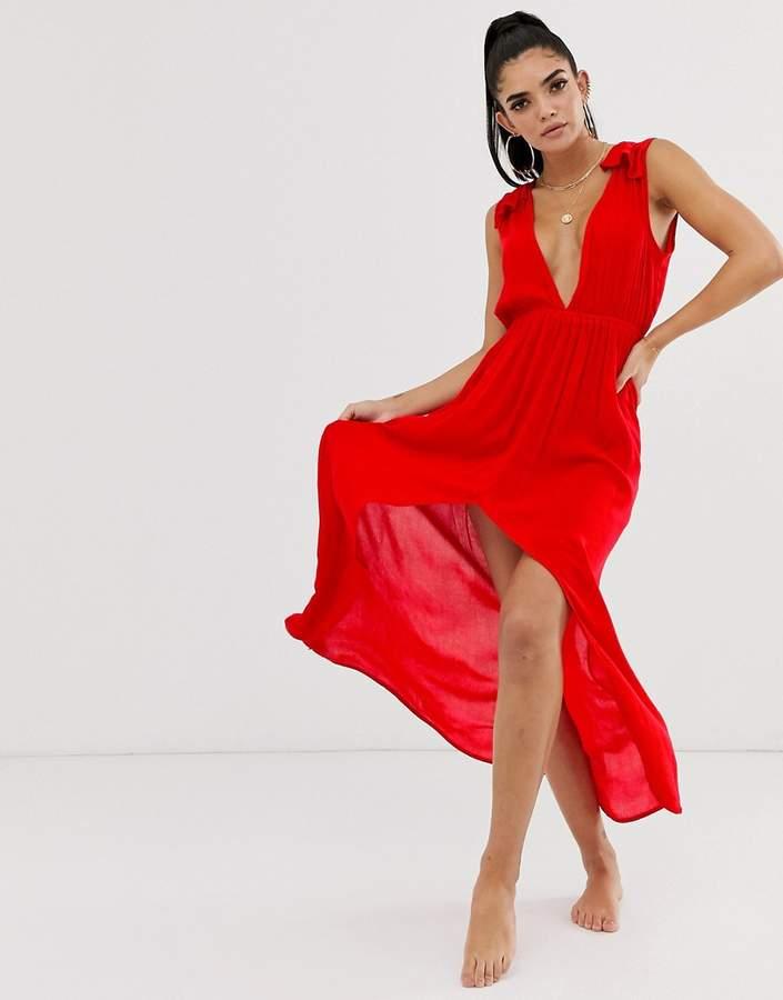 Asos Design DESIGN plunge beach maxi dress with ruffle shoulders & high low hem