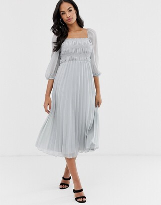 Asos Design DESIGN shirred pleated midi dress-Grey