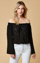 Honey Punch Eyelet Button-Front Off-The-Shoulder Top