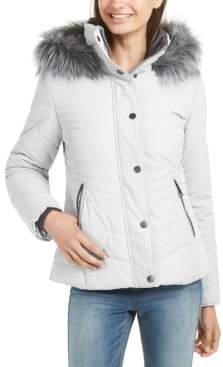 Maralyn & Me Juniors' Faux-Fur Trim Hooded Puffer Coat