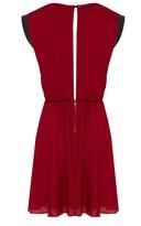 Alice + Olivia Meg Leather Mini Cap Sleeve Dress