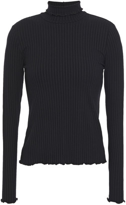3x1 Ruffle-trimmed Ribbed Jersey Turtleneck Top