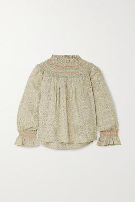 DÔEN Amoret Smocked Floral-print Cotton-blend Top - Mustard