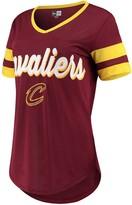 New Era Women's Wine/Gold Cleveland Cavaliers Contrast Insert V-Neck T-Shirt