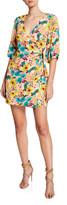 Aidan Mattox Floral-Print 3/4-Sleeve Wrap Cocktail Dress