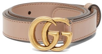 Gucci GG-logo Leather Belt - Nude