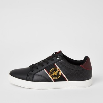 River Island Black wasp tape side lace-up trainers