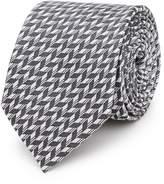 Reiss Reiss Senta - Herringbone Silk Tie In Black/white