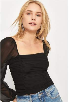 Dynamite Ruched Puff Sleeve Blouse - Final Sale Jet Black