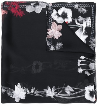Alexander McQueen Flowers and Chain print scarf