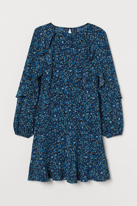 H&M Flounce-trimmed Dress - Blue