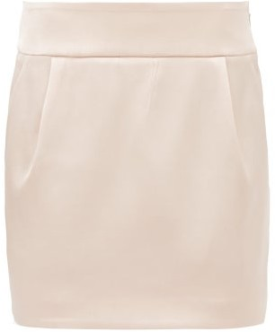 Alexandre Vauthier Satin Mini Skirt - Womens - Light Pink