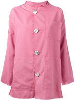 Julien David contrast button coat - women - Polyester/Wool/Silk - S