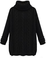 LOVEBEAUTY Women's Turtleneck Chunky Cable Knit Long Sleeve Loose Sweater Pullover