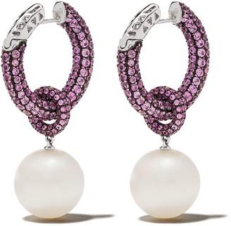 Yoko London 18kt white gold Belgravia south sea pearl and pink sapphire earrings