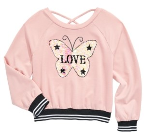 Beautees Big Girls Flip Sequins Butterfly Top