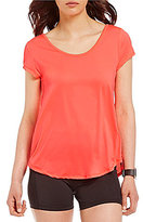 Calvin Klein Scoop Neck Strappy Back Birdseye Mesh Knit Tee