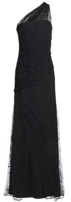 Roberto Cavalli One-shoulder Gathered Lace-layered Crepe Gown