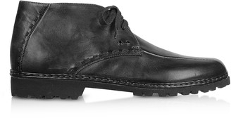 Pakerson Black Handmade Italian Leather Ankle Boots