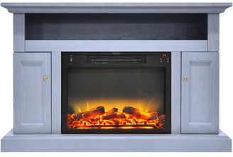 Cambridge Silversmiths Sorrento Electric Fireplace with an Enhanced Log Display and 47 In. Entertainment Stand in Slate Blue