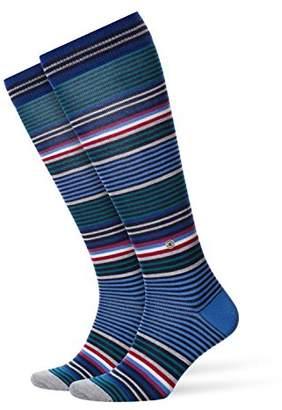Burlington Men's Stripe Knee - High Socks, Dark Blue Melange 6688), (Size:40-46)