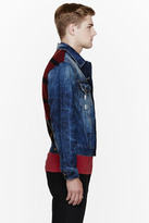 McQ by Alexander McQueen Red plaid wool & denim jacket