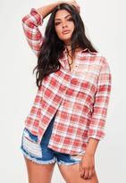 Missguided Curve Red Bleached Oversized Checkered Shirt, Red