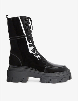 The Kooples Chunky-soled glossy leather lace-up boots
