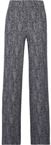 Theory Talbert Herringbone Stretch-knit Wide-leg Pants - Midnight blue